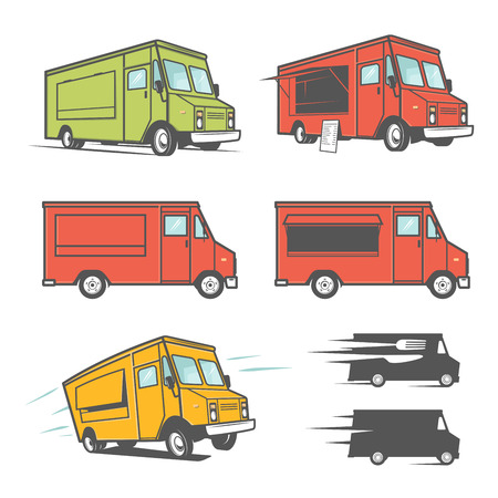 fast food restaurant: Set of food trucks from various angles, icons and design elements
