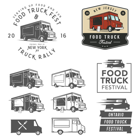 vintage truck: Set of food truck festival emblems, badges and design elements