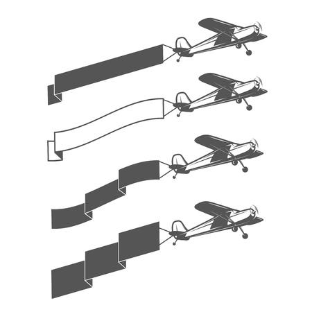 Set of vintage small aircraft dragging blank ribbon