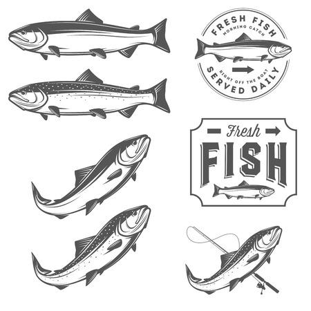 barca da pesca: Vintage freschi emblemi salmone pesce, distintivi ed elementi di design set Vettoriali