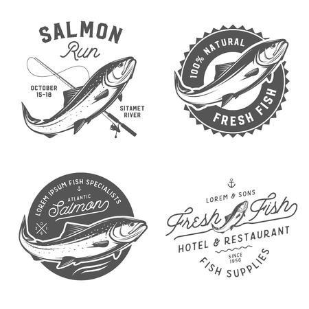 ビンテージの新鮮な魚のサケのエンブレム、バッジおよびデザイン要素の設定  イラスト・ベクター素材