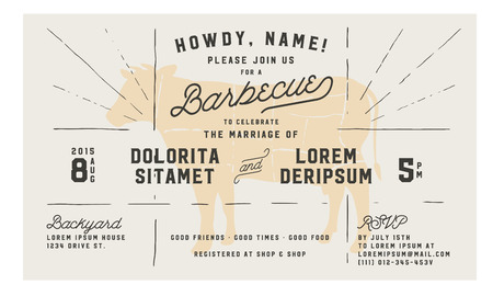 hot wife: Wedding engagement BBQ vintage invitation template Illustration
