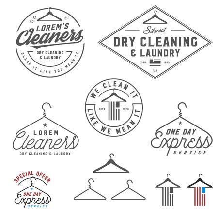 personal de limpieza: Emblemas de limpieza en seco del vintage, etiquetas y elementos de dise�o