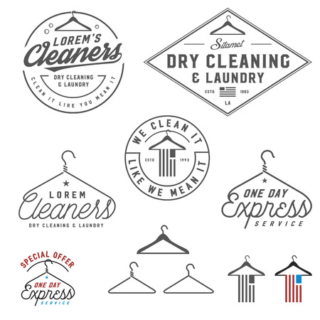 laundry hanger: Vintage dry cleaning emblems, labels and design elements Illustration