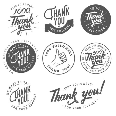 Set of vintage Thank you badges, labels and stickers