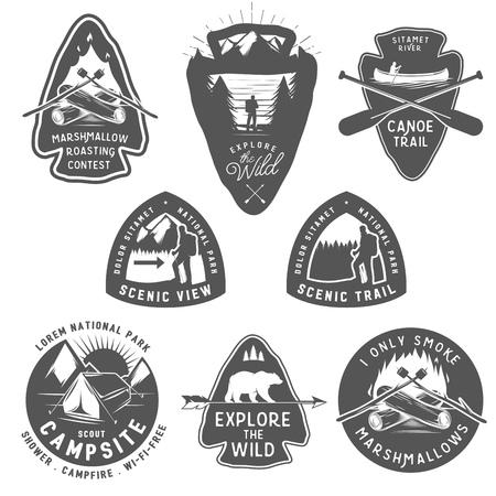 wild nature: Vintage camping and hiking labels, badges, design elements Illustration