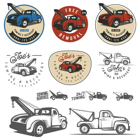truck road: Vintage car tow truck emblems, labels and design elements Illustration
