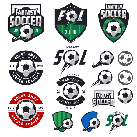Set of European football, soccer labels, emblems and design elements Çizim