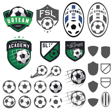 Set of football, soccer emblem design elements Ilustracja