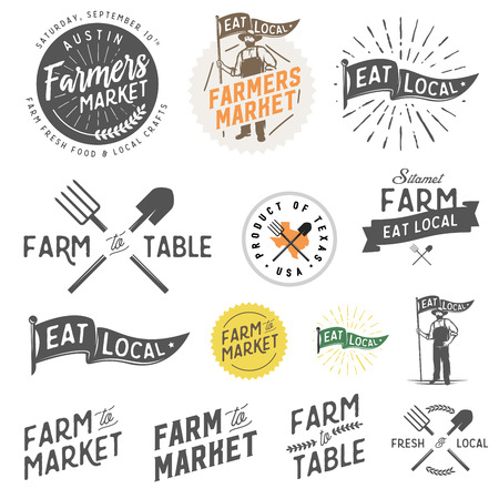Vintage farm and farmers market labels, badges, emblems and design elements Ilustracja