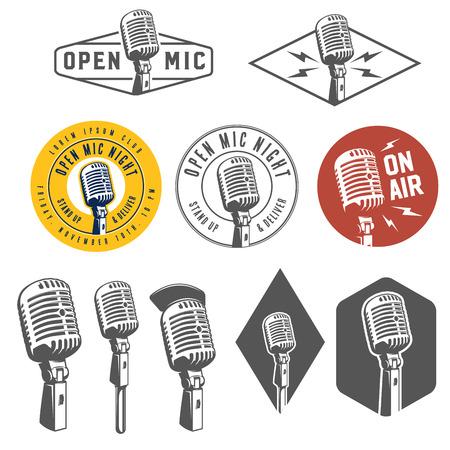 Conjunto de emblemas de la vendimia retro micrófono, etiquetas y elementos de diseño Ilustración de vector