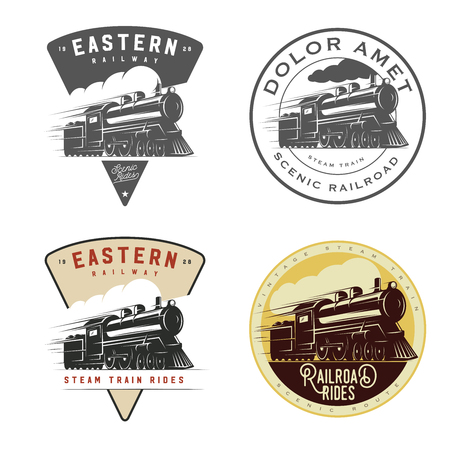 Set of vintage retro railroad steam train logos, emblems, labels and badges Çizim