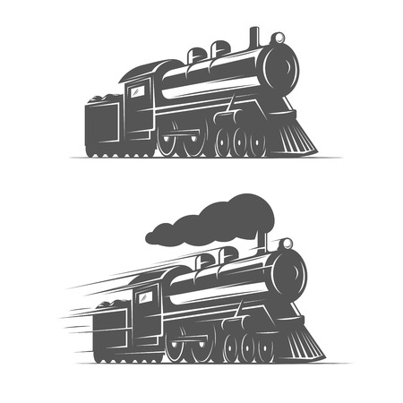 Vintage steam train isolated on white background, old retro railroad