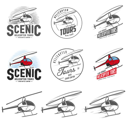 Set of retro helicopter related emblems, labels and design elements. Isolated helicopter on white background