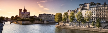 seine: Notre Dame cathedral and River Seine in Paris  France  Stock Photo