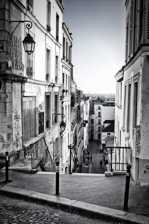 A little street in Montmartre  Paris, France  photo
