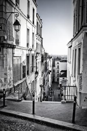 paris street: A little street in Montmartre  Paris, France  Stock Photo