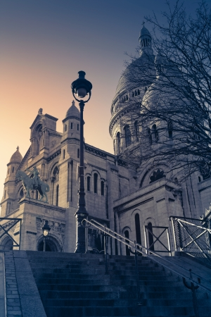 sacred heart: Sacred Heart Basilica in Montmartre  Paris, France  Stock Photo