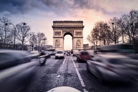 champs: Arc de Triomphe on the Champs Elysées in Paris, France Stock Photo