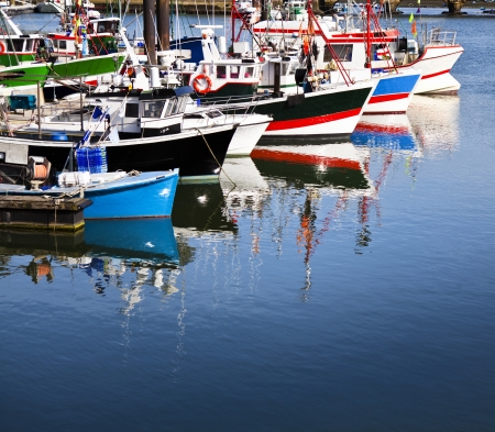 Moored trawlers in Saint Jean de Luz harbor  Pays basque, France