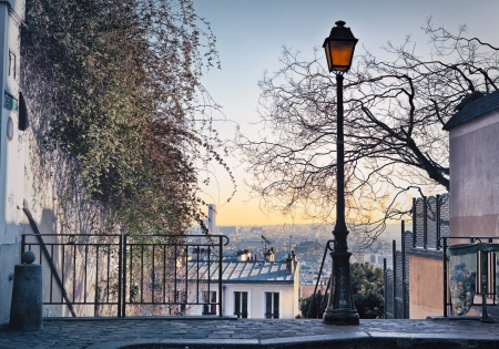 Old street lamp on top of Montmartre Hill in Paris, France