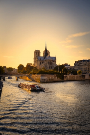 Notre Dame cathedral and River Seine in Paris Stock Photo