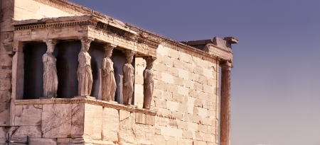 Caryatids in Erechteion temple on the Acropolis in Athens, Greece