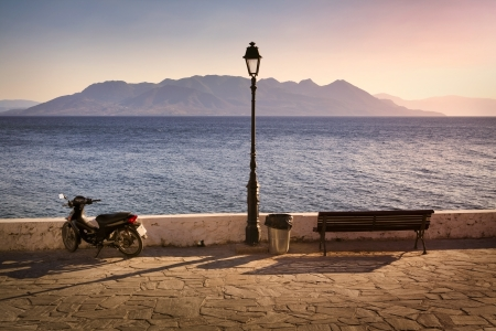 Sunset on Aegina Island in Greece Stock Photo