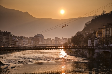 Cable car and river Isere in Grenoble, France