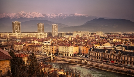 General view of Grenoble in France with the Alps in the distance