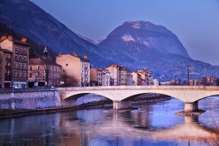 Isere fiume a Grenoble, Francia Archivio Fotografico