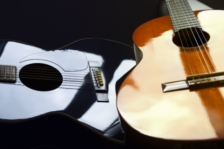 Detail of two acoustic guitars Stock Photo
