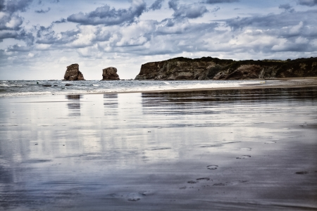 Hendaye beach in France at low tide