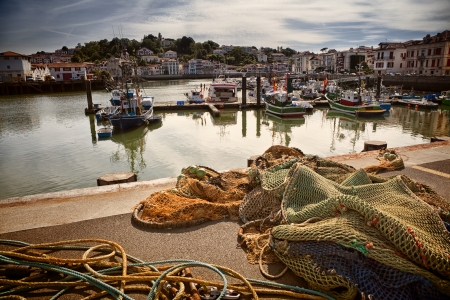 pays: Moored trawlers in Saint Jean de Luz harbour in France