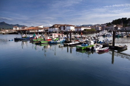 Moored trawlers in Saint Jean de Luz harbour in France