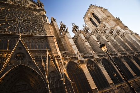 The north side of Notre Dame cathedral in Paris, France