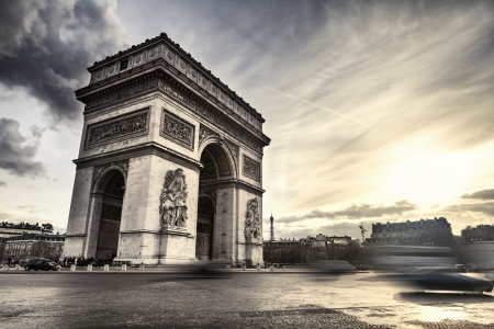 Arch of Triumph on Place de l Etoile in Paris, France Stock Photo