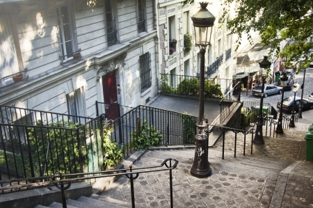Stairs in Montmartre, Paris, France Stock Photo
