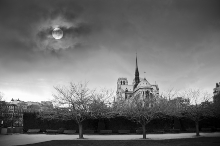 Notre Dame cathedral in Paris, France with full moon Stock Photo
