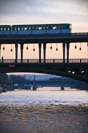 Metro on a bridge in Paris, France