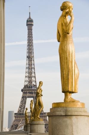 trocadero: Eiffel Tower and statues on Trocadero Esplanade in Paris, France