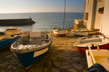 pays: Fishing boats in Guetary harbour in Pays Basque, France Stock Photo