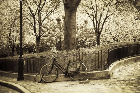 Old bicycle in Montmartre, Paris, France Stock Photo