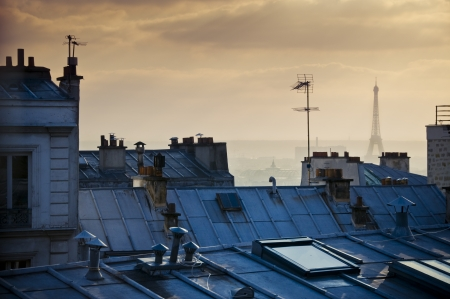 chimneys: Old rooftops in Paris, France, with Eiffel Tower in the distance