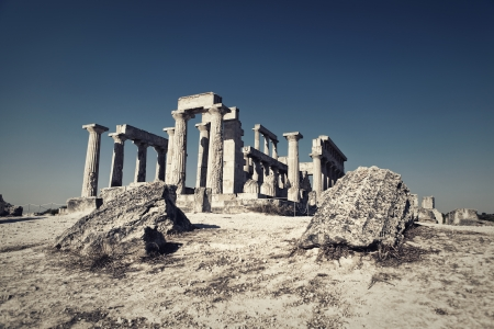 Aphaia temple on Aegina Island in Greece photo