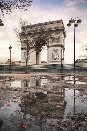 Arch of Triumph and Champs Elysees in Paris, France Stock Photo