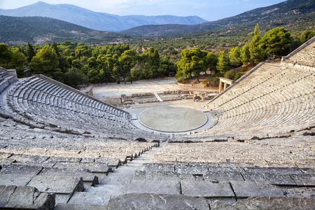 Epidauro anfiteatro in Grecia Archivio Fotografico