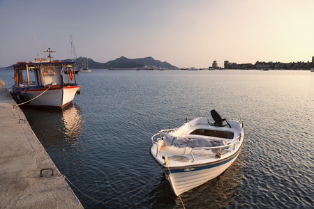 peloponnese: Little boats in Methoni harbor, Greece