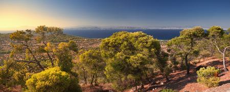 Vista panoramica di Egina, Grecia Archivio Fotografico
