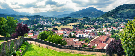 pays: Panoramic view of Saint Jean Pied de Port in Pays Basque, France